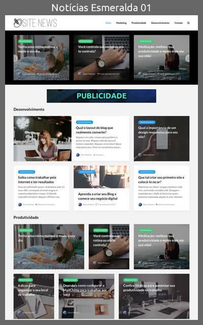 Demonstração do Modelo de Site Portal de Notícias Esmeralda Layout 01