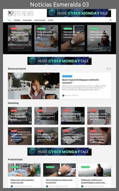Demonstração do Modelo de Site Portal de Notícias Esmeralda Layout 03