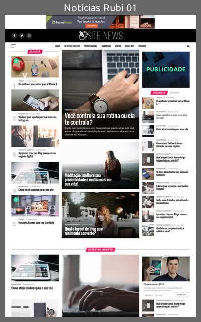 Demonstração do Modelo de Site Portal de Notícias Rubi Layout 01