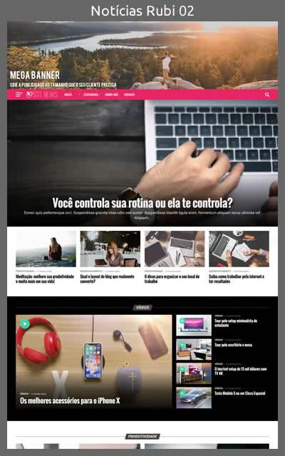 Demonstração do Modelo de Site Portal de Notícias Rubi Layout 02