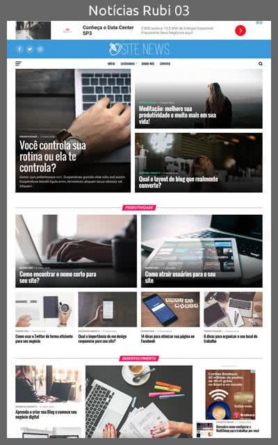 Demonstração do Modelo de Site Portal de Notícias Rubi Layout 03